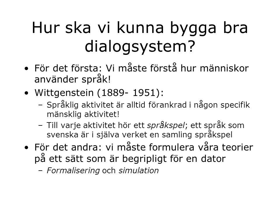 Hur ska vi kunna bygga bra dialogsystem? För det första: Vi måste förstå hur människor använder språk! Wittgenstein (1889- 1951): –Språklig aktivitet