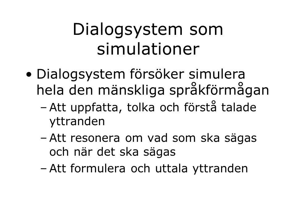 Dialogsystem som simulationer Dialogsystem försöker simulera hela den mänskliga språkförmågan –Att uppfatta, tolka och förstå talade yttranden –Att resonera om vad som ska sägas och när det ska sägas –Att formulera och uttala yttranden