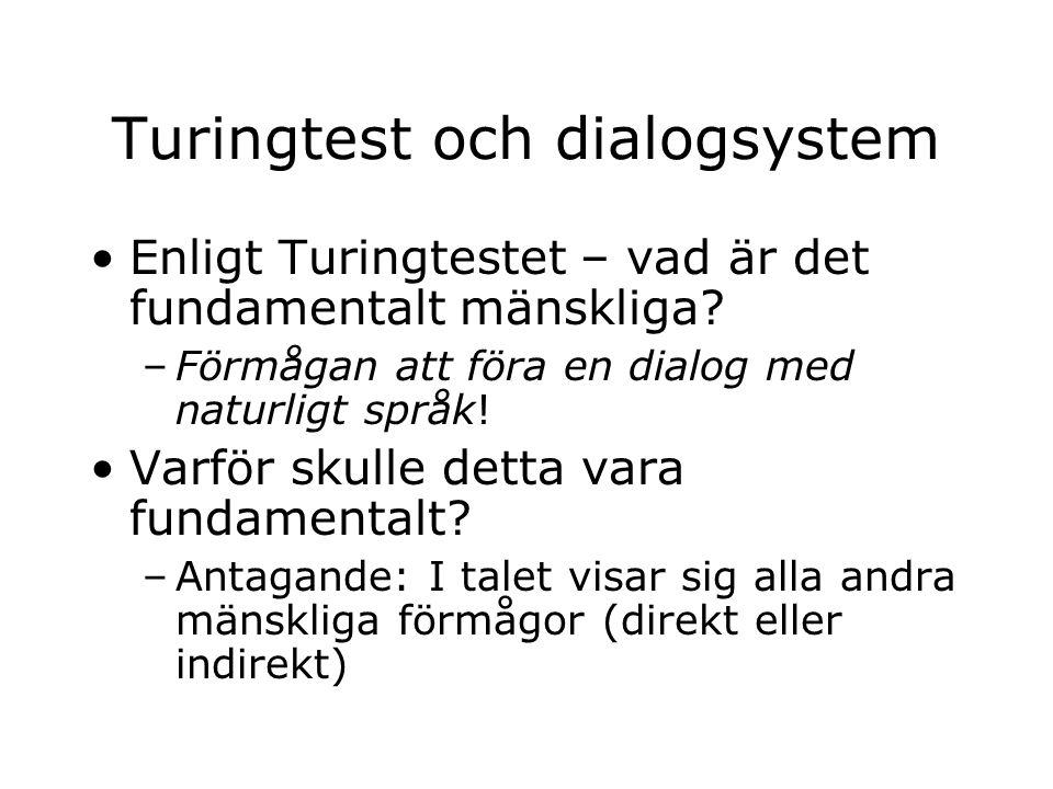 Turingtest och dialogsystem Enligt Turingtestet – vad är det fundamentalt mänskliga? –Förmågan att föra en dialog med naturligt språk! Varför skulle d