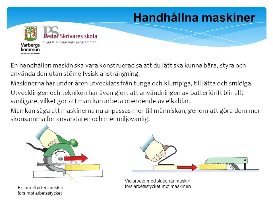 Bygg & Anläggnings programmet En handhållen maskin ska vara konstruerad så att du lätt ska kunna bära, styra och använda den utan större fysisk ansträ