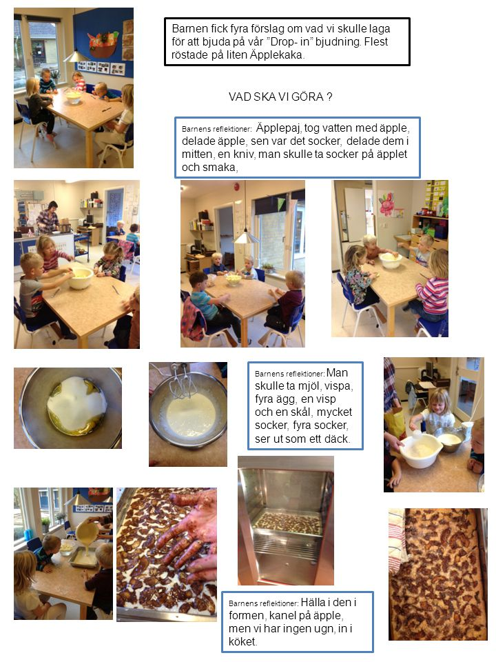 """Barnen fick fyra förslag om vad vi skulle laga för att bjuda på vår """"Drop- in"""" bjudning. Flest röstade på liten Äpplekaka. VAD SKA VI GÖRA ? Barnens r"""