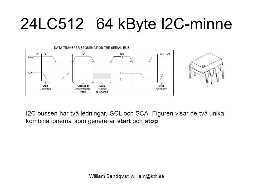 William Sandqvist william@kth.se 24LC512 64 kByte I2C-minne I2C bussen har två ledningar, SCL och SCA. Figuren visar de två unika kombinationerna som