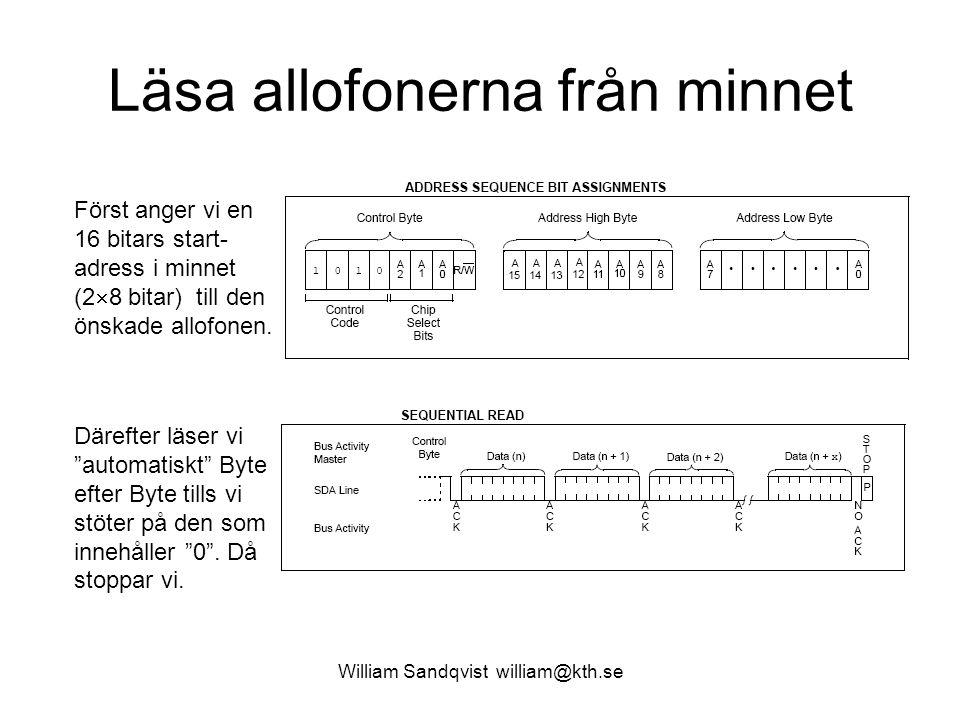 William Sandqvist william@kth.se Läsa allofonerna från minnet Först anger vi en 16 bitars start- adress i minnet (2  8 bitar) till den önskade allofo