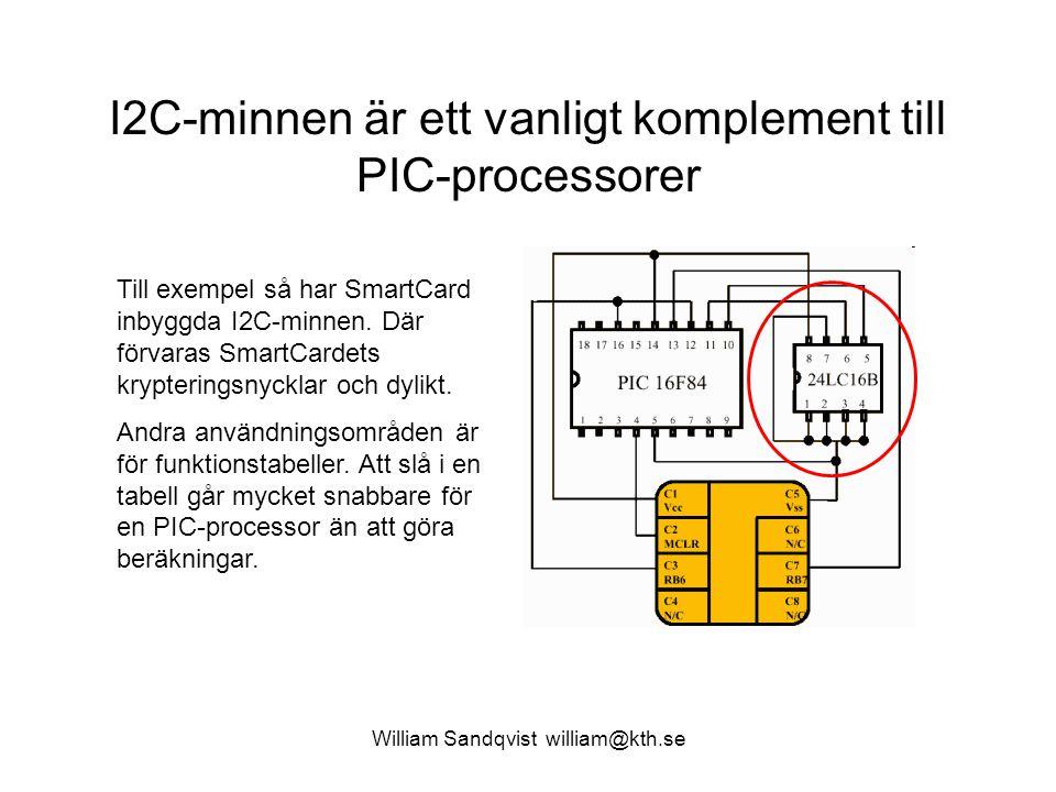 William Sandqvist william@kth.se I2C-minnen är ett vanligt komplement till PIC-processorer Till exempel så har SmartCard inbyggda I2C-minnen. Där förv