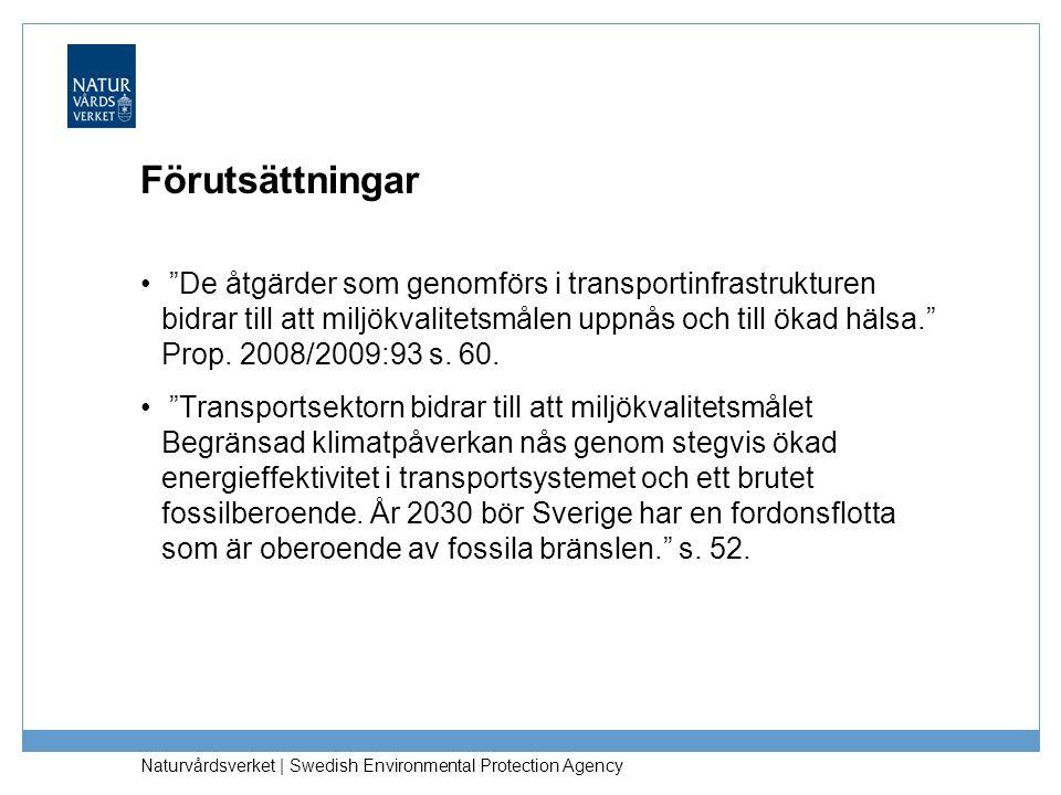 """Naturvårdsverket   Swedish Environmental Protection Agency Förutsättningar """"De åtgärder som genomförs i transportinfrastrukturen bidrar till att miljö"""