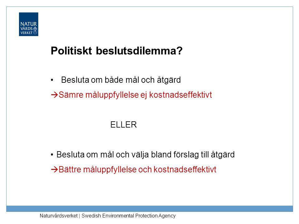 Naturvårdsverket   Swedish Environmental Protection Agency Politiskt beslutsdilemma? Besluta om både mål och åtgärd  Sämre måluppfyllelse ej kostnads