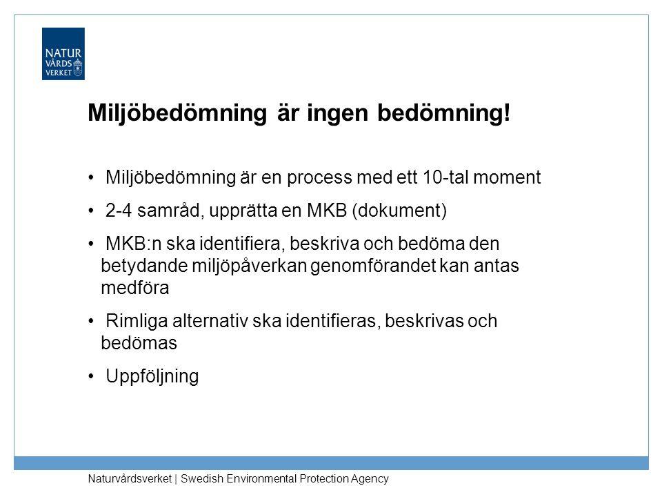 Naturvårdsverket   Swedish Environmental Protection Agency Miljöbedömning är ingen bedömning! Miljöbedömning är en process med ett 10-tal moment 2-4 s