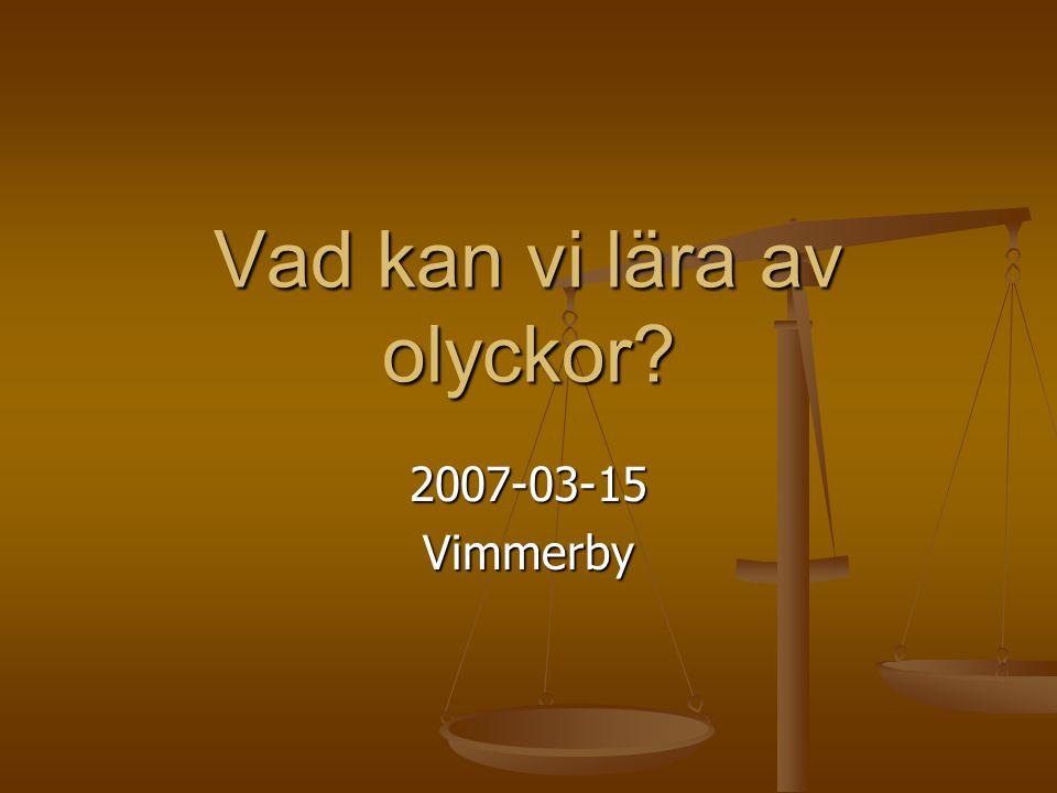 Kort presentation Matz Lenner Teknisk doktor U-lektor vid LiU/IEI Professor vid HiG Produktionsteknik Skärteknik Säkerhet Ordförande TK 275 TK 491 Ledmot TK247