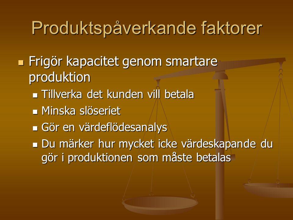 Produktspåverkande faktorer Frigör kapacitet genom smartare produktion Frigör kapacitet genom smartare produktion Tillverka det kunden vill betala Til