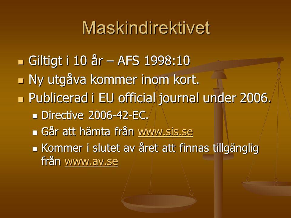 Maskindirektivet Giltigt i 10 år – AFS 1998:10 Giltigt i 10 år – AFS 1998:10 Ny utgåva kommer inom kort. Ny utgåva kommer inom kort. Publicerad i EU o