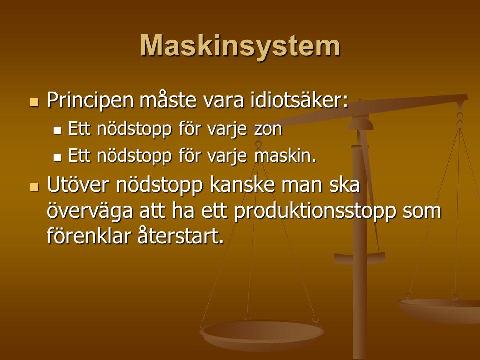 Maskinsystem Principen måste vara idiotsäker: Principen måste vara idiotsäker: Ett nödstopp för varje zon Ett nödstopp för varje zon Ett nödstopp för