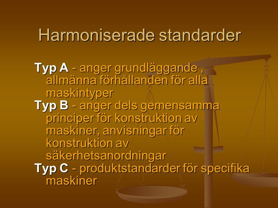 Harmoniserade standarder Typ A - anger grundläggande, allmänna förhållanden för alla maskintyper Typ B - anger dels gemensamma principer för konstrukt