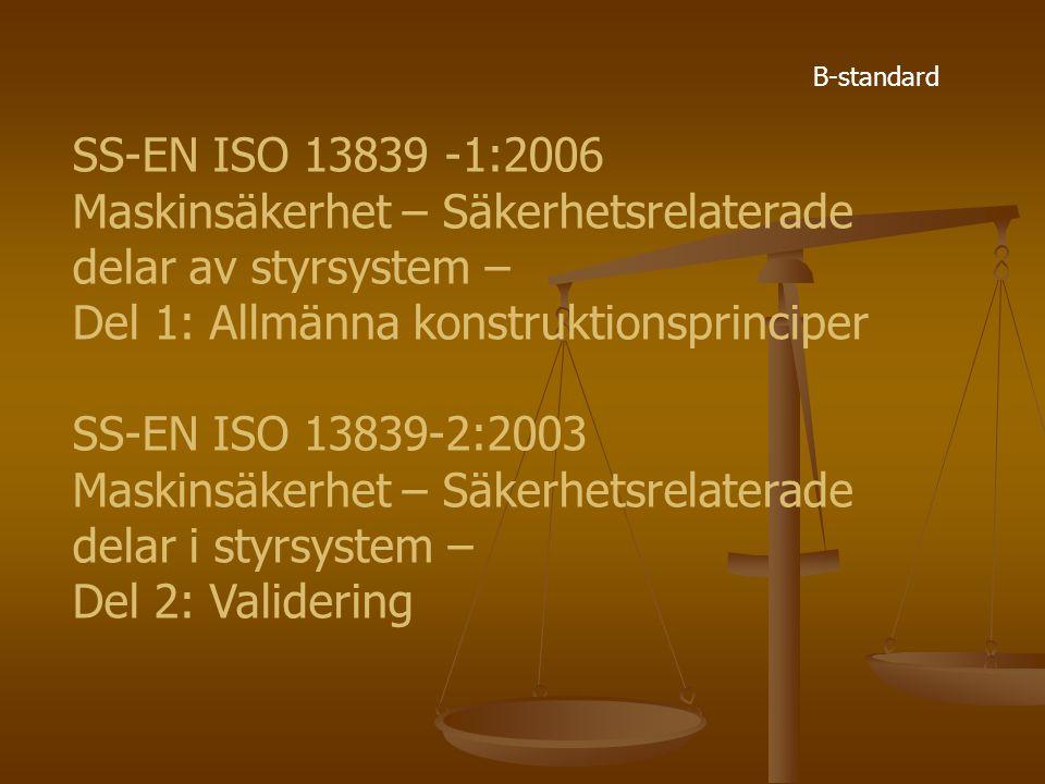 SS-EN ISO 13839 -1:2006 Maskinsäkerhet – Säkerhetsrelaterade delar av styrsystem – Del 1: Allmänna konstruktionsprinciper SS-EN ISO 13839-2:2003 Maski