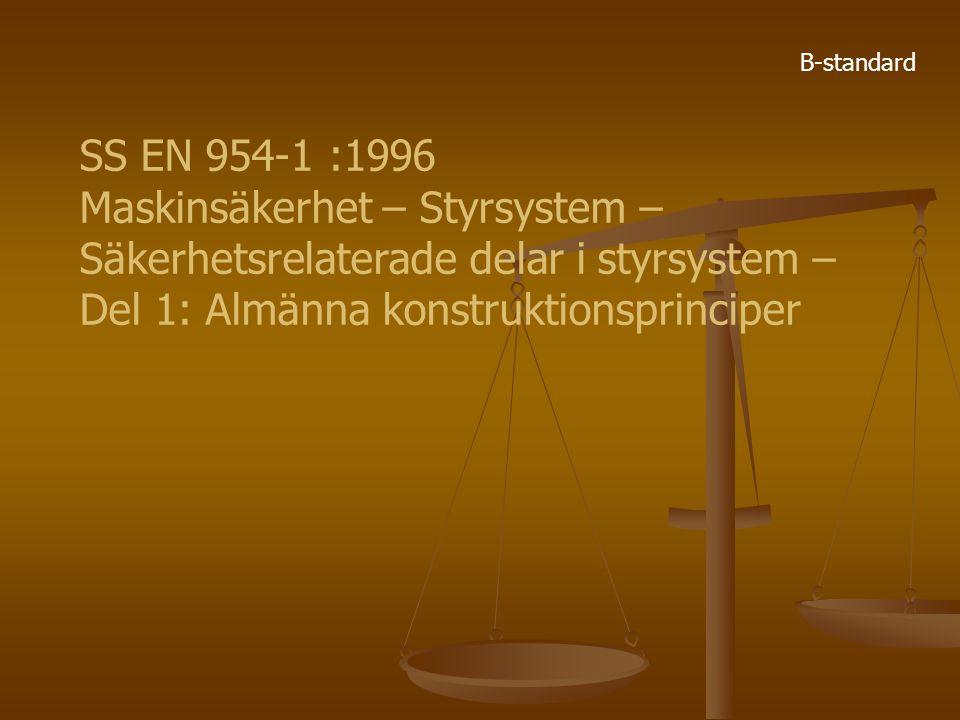 SS EN 954-1 :1996 Maskinsäkerhet – Styrsystem – Säkerhetsrelaterade delar i styrsystem – Del 1: Almänna konstruktionsprinciper B-standard