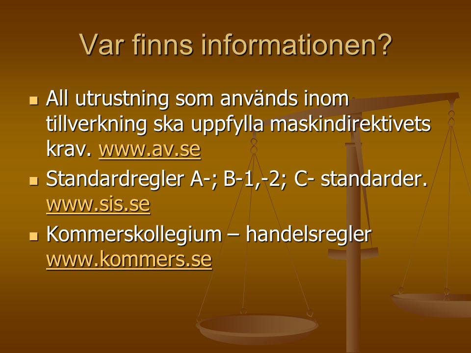 Var finns informationen? All utrustning som används inom tillverkning ska uppfylla maskindirektivets krav. www.av.se All utrustning som används inom t