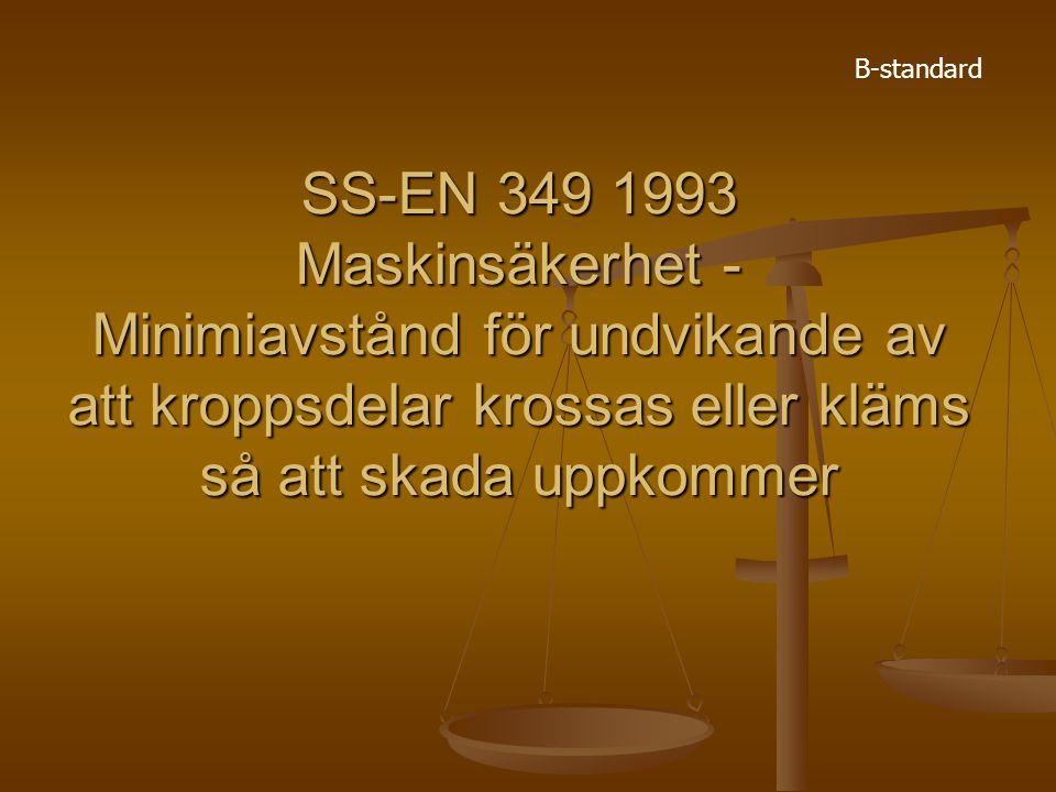 SS-EN 349 1993 Maskinsäkerhet - Minimiavstånd för undvikande av att kroppsdelar krossas eller kläms så att skada uppkommer B-standard