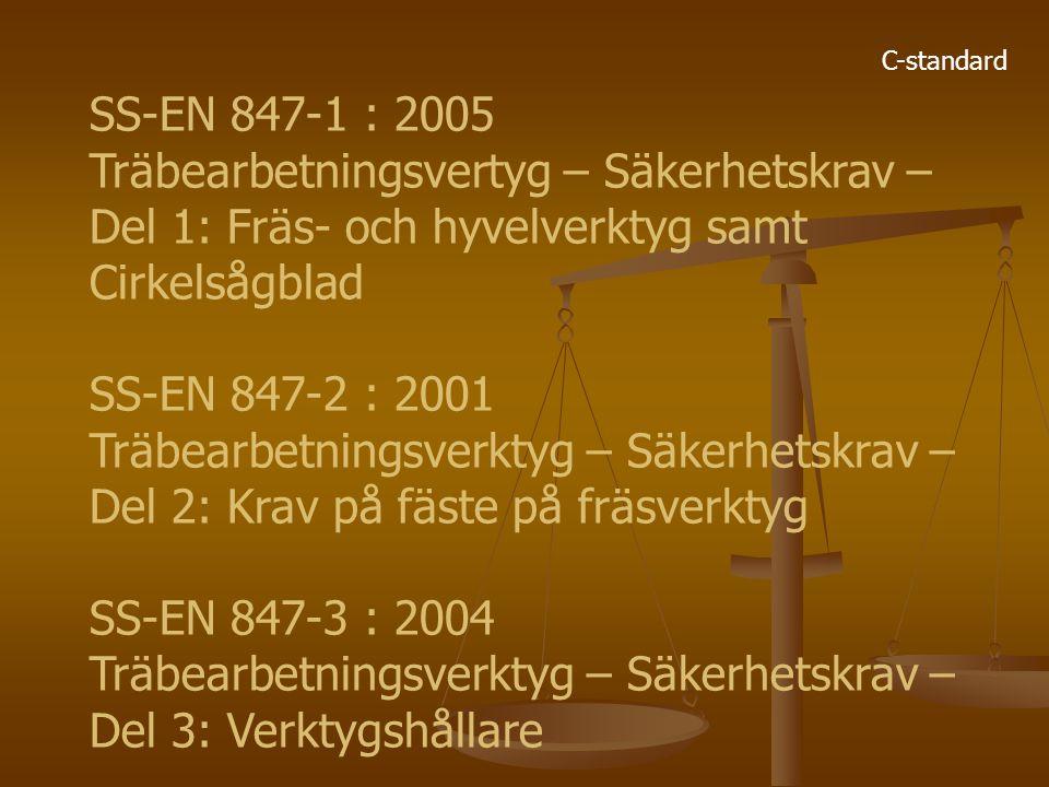 C-standard SS-EN 847-1 : 2005 Träbearbetningsvertyg – Säkerhetskrav – Del 1: Fräs- och hyvelverktyg samt Cirkelsågblad SS-EN 847-2 : 2001 Träbearbetni