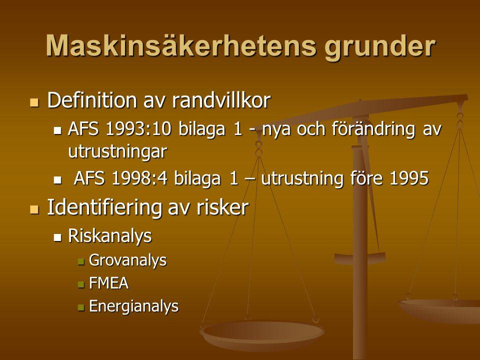 Maskinsäkerhetens grunder Definition av randvillkor Definition av randvillkor AFS 1993:10 bilaga 1 - nya och förändring av utrustningar AFS 1993:10 bi
