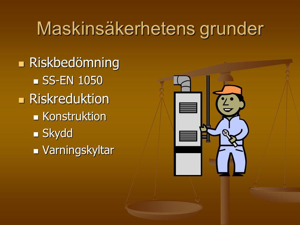 Maskinsäkerhetens grunder Riskbedömning Riskbedömning SS-EN 1050 SS-EN 1050 Riskreduktion Riskreduktion Konstruktion Konstruktion Skydd Skydd Varnings