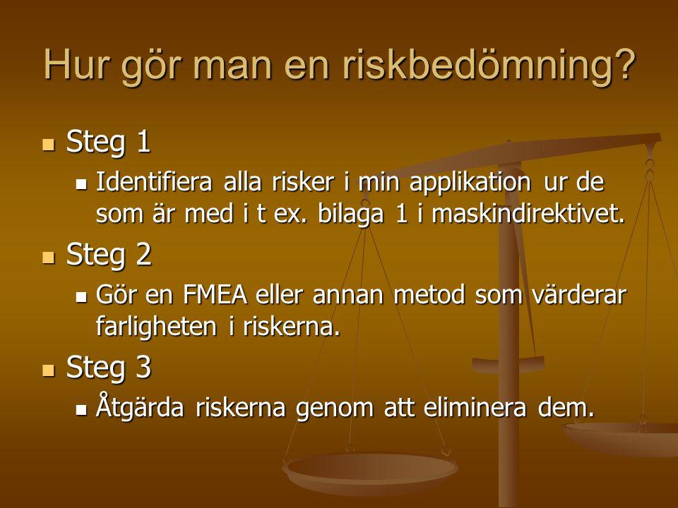 Hur gör man en riskbedömning? Steg 1 Steg 1 Identifiera alla risker i min applikation ur de som är med i t ex. bilaga 1 i maskindirektivet. Identifier