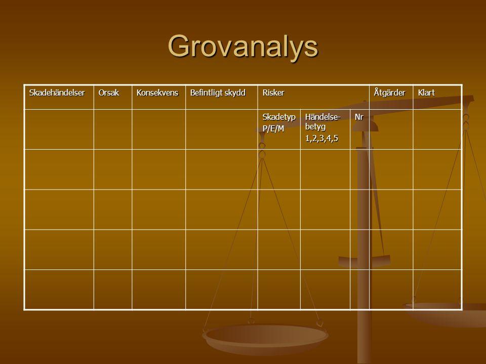 Grovanalys SkadehändelserOrsakKonsekvens Befintligt skydd RiskerÅtgärderKlart SkadetypP/E/M Händelse- betyg 1,2,3,4,5Nr
