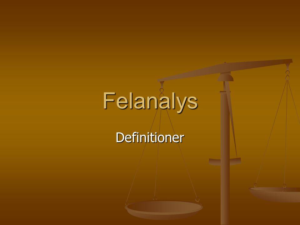 Felanalys Definitioner
