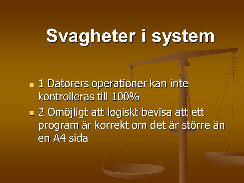 Svagheter i system Svagheter i system 1 Datorers operationer kan inte kontrolleras till 100% 1 Datorers operationer kan inte kontrolleras till 100% 2