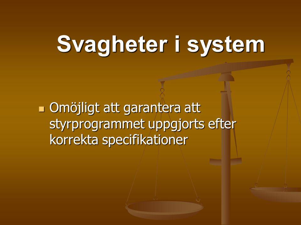 Svagheter i system Omöjligt att garantera att styrprogrammet uppgjorts efter korrekta specifikationer Omöjligt att garantera att styrprogrammet uppgjo