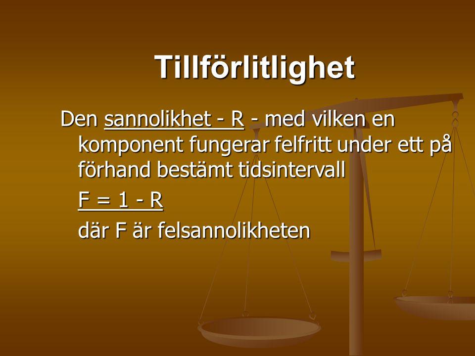 Tillförlitlighet Den sannolikhet - R - med vilken en komponent fungerar felfritt under ett på förhand bestämt tidsintervall F = 1 - R där F är felsann