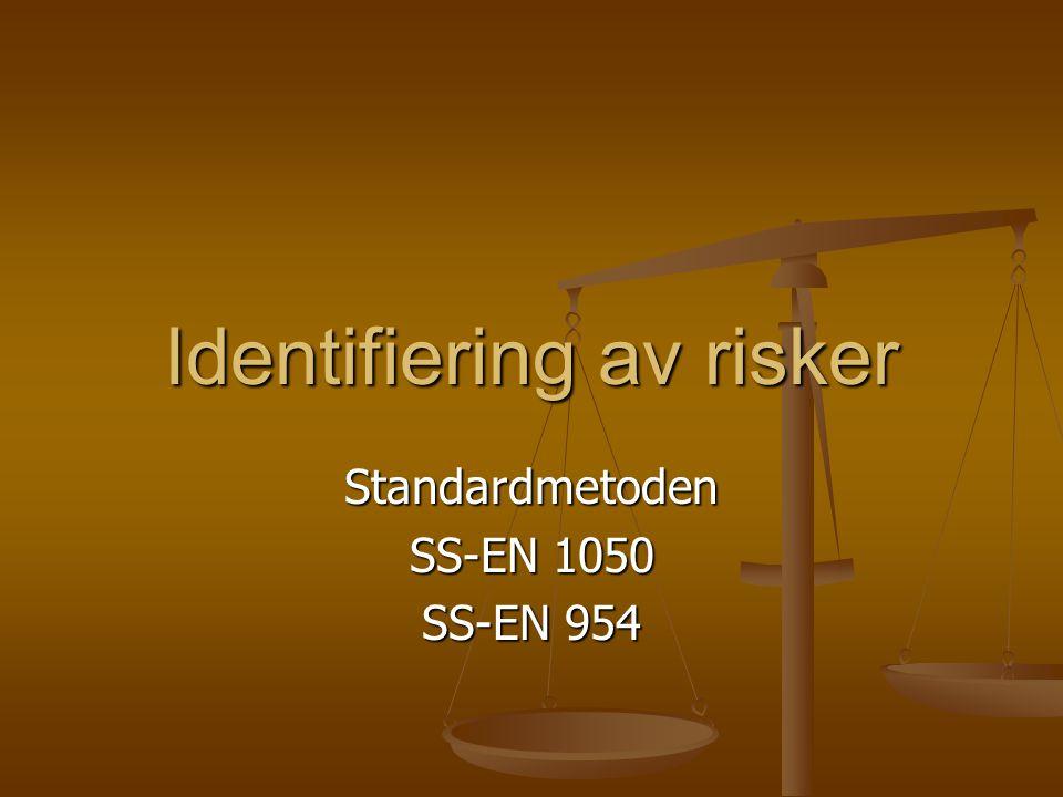 Identifiering av risker Standardmetoden SS-EN 1050 SS-EN 954