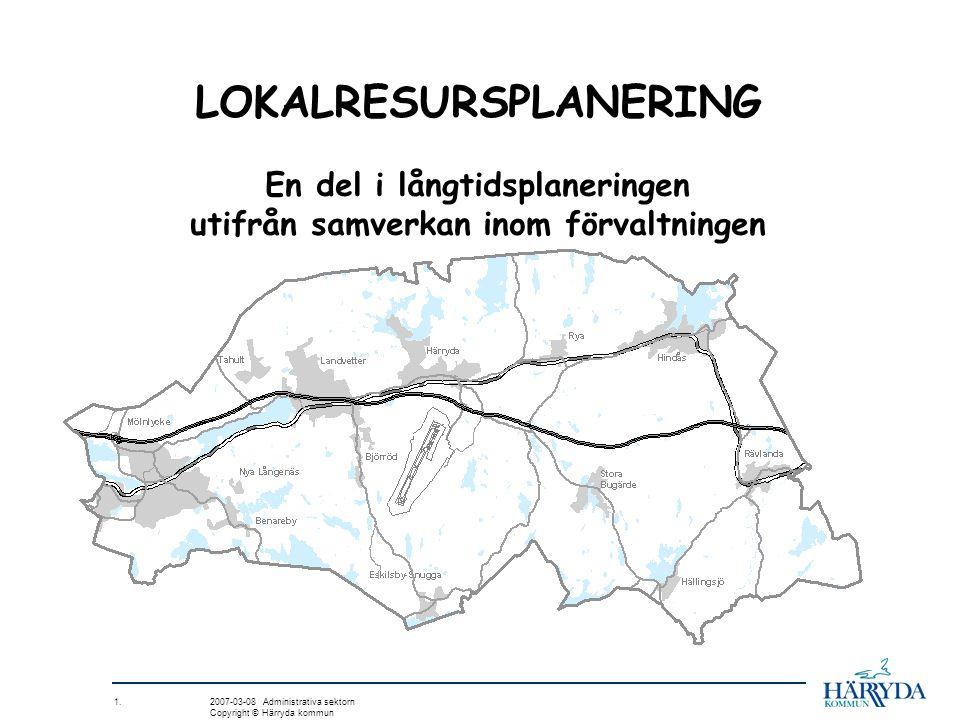 1. 2007-03-08 Administrativa sektorn Copyright © Härryda kommun LOKALRESURSPLANERING En del i långtidsplaneringen utifrån samverkan inom förvaltningen