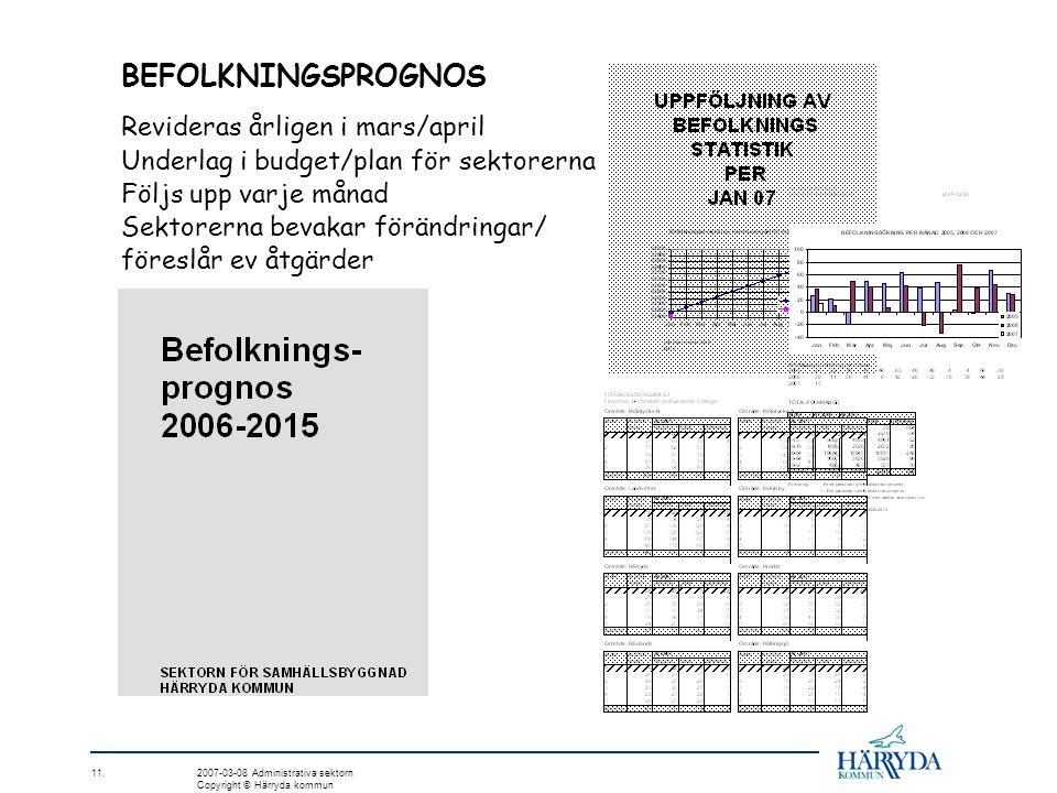 BEFOLKNINGSPROGNOS Revideras årligen i mars/april Underlag i budget/plan för sektorerna Följs upp varje månad Sektorerna bevakar förändringar/ föreslå