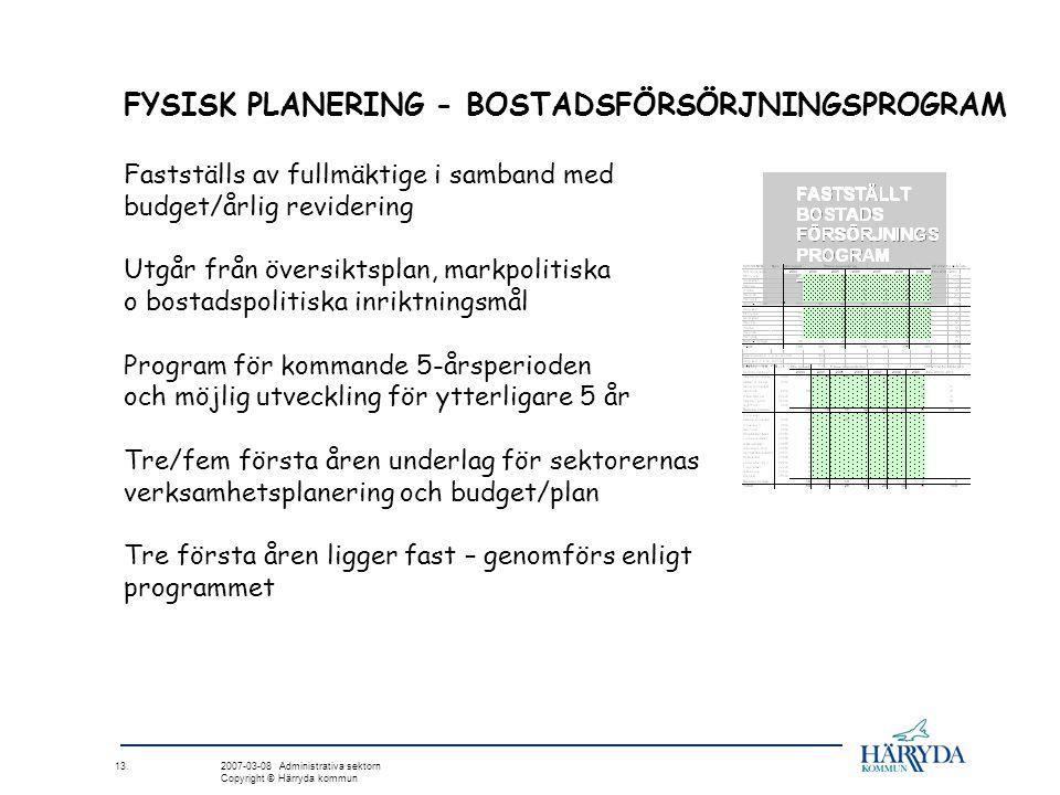 13. 2007-03-08 Administrativa sektorn Copyright © Härryda kommun FYSISK PLANERING - BOSTADSFÖRSÖRJNINGSPROGRAM Fastställs av fullmäktige i samband med