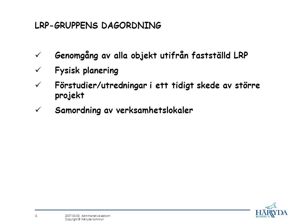 8. 2007-03-08 Administrativa sektorn Copyright © Härryda kommun LRP-GRUPPENS DAGORDNING Genomgång av alla objekt utifrån fastställd LRP Fysisk planeri