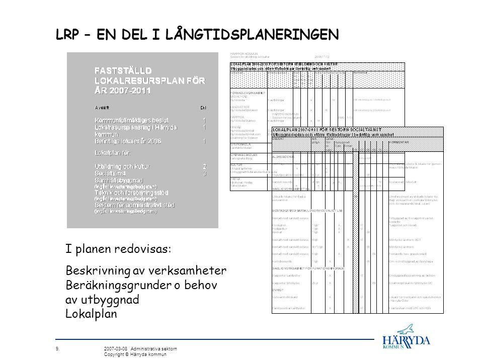 LRP – EN DEL I LÅNGTIDSPLANERINGEN I planen redovisas: Beskrivning av verksamheter Beräkningsgrunder o behov av utbyggnad Lokalplan 9. 2007-03-08 Admi