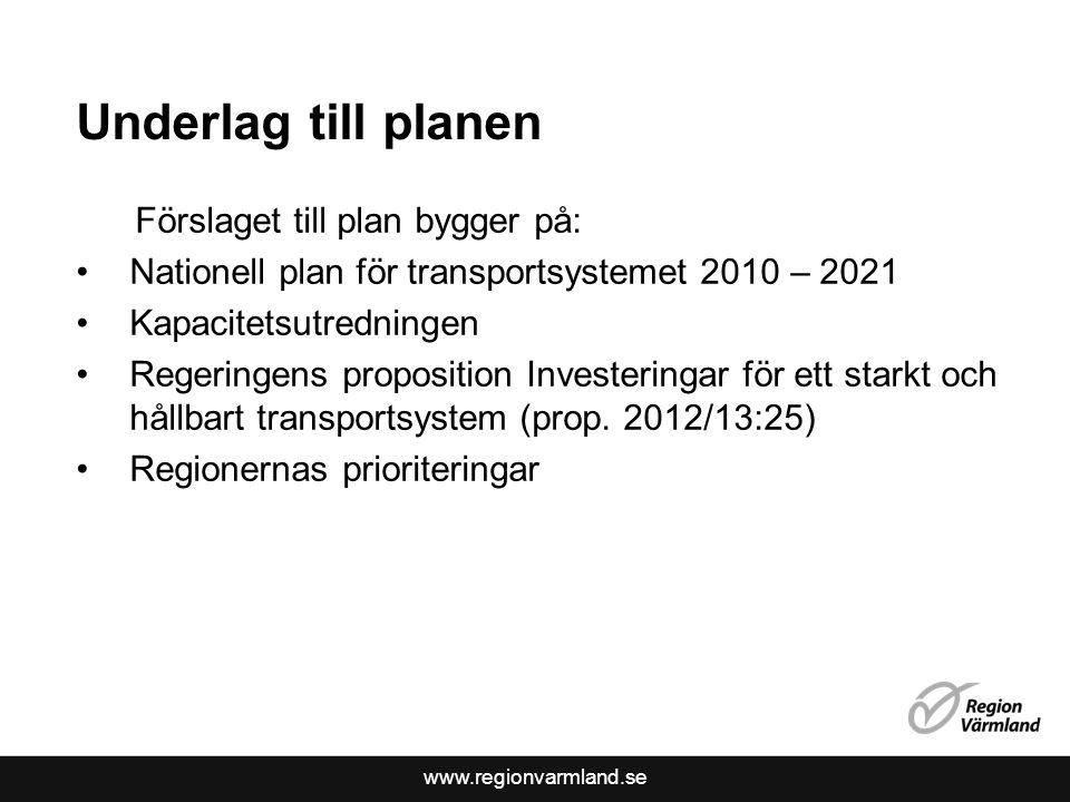 www.regionvarmland.se Underlag till planen Förslaget till plan bygger på: Nationell plan för transportsystemet 2010 – 2021 Kapacitetsutredningen Regeringens proposition Investeringar för ett starkt och hållbart transportsystem (prop.