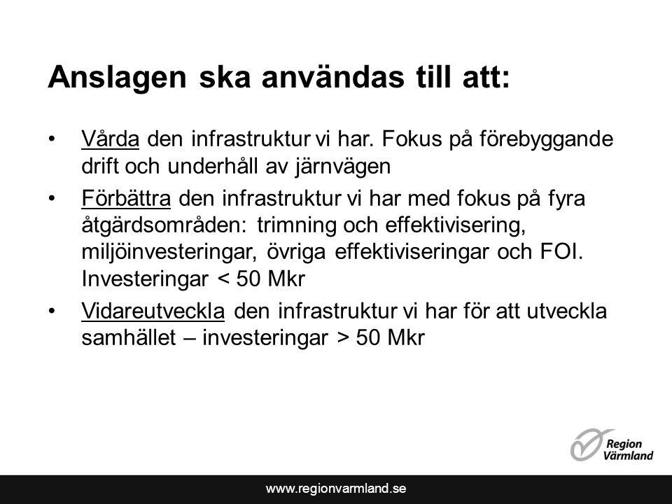 www.regionvarmland.se Anslagen ska användas till att: Vårda den infrastruktur vi har. Fokus på förebyggande drift och underhåll av järnvägen Förbättra