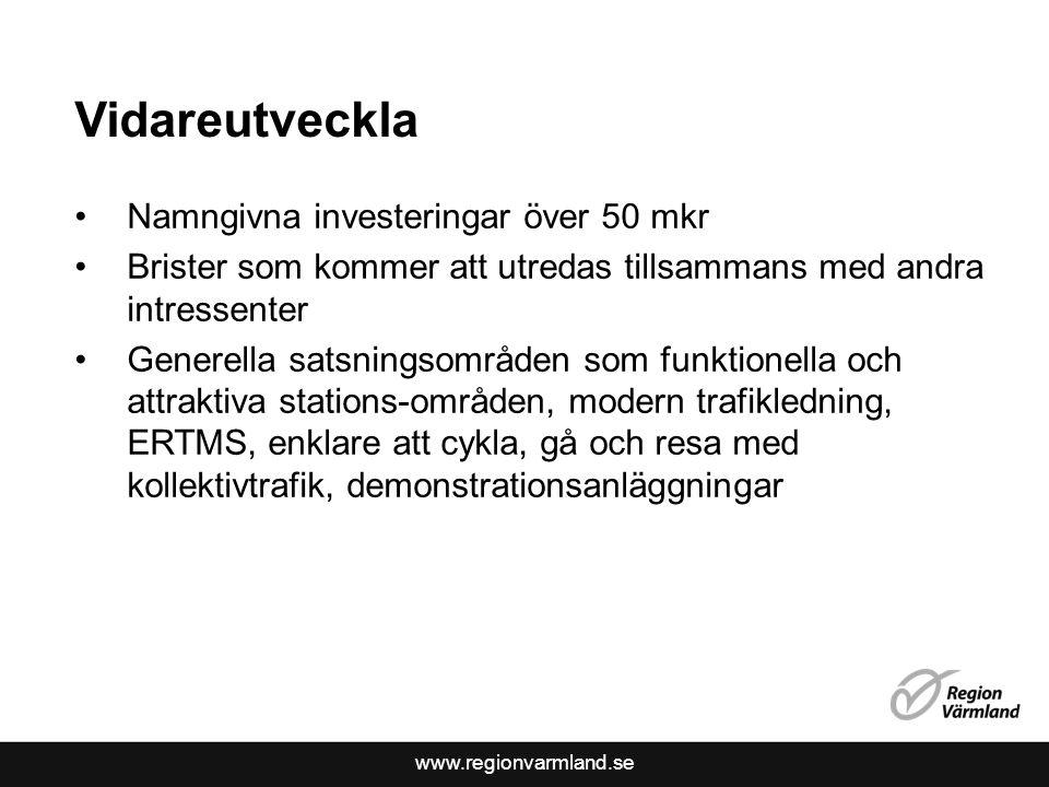 www.regionvarmland.se Vidareutveckla Namngivna investeringar över 50 mkr Brister som kommer att utredas tillsammans med andra intressenter Generella satsningsområden som funktionella och attraktiva stations-områden, modern trafikledning, ERTMS, enklare att cykla, gå och resa med kollektivtrafik, demonstrationsanläggningar