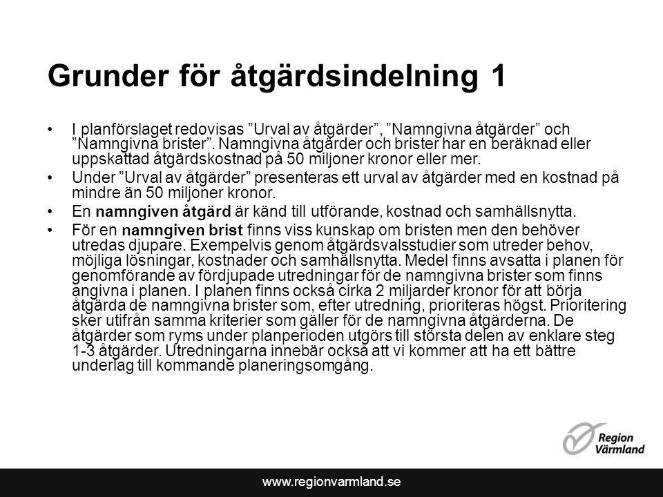 www.regionvarmland.se Grunder för åtgärdsindelning 1 I planförslaget redovisas Urval av åtgärder , Namngivna åtgärder och Namngivna brister .