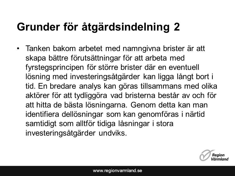 www.regionvarmland.se Grunder för åtgärdsindelning 2 Tanken bakom arbetet med namngivna brister är att skapa bättre förutsättningar för att arbeta med fyrstegsprincipen för större brister där en eventuell lösning med investeringsåtgärder kan ligga långt bort i tid.