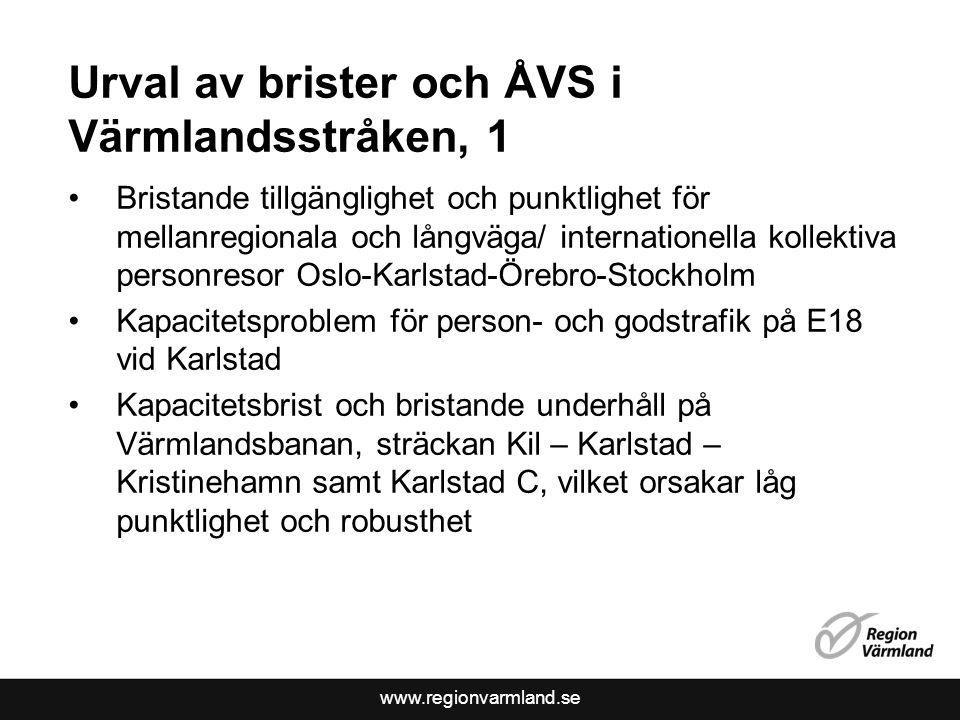 Urval av brister och ÅVS i Värmlandsstråken, 1 Bristande tillgänglighet och punktlighet för mellanregionala och långväga/ internationella kollektiva p