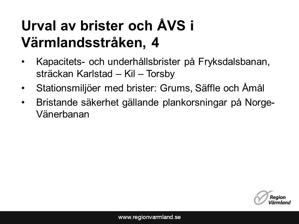 www.regionvarmland.se Urval av brister och ÅVS i Värmlandsstråken, 4 Kapacitets- och underhållsbrister på Fryksdalsbanan, sträckan Karlstad – Kil – To