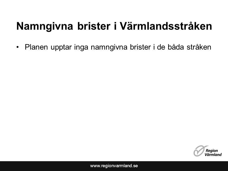 www.regionvarmland.se Namngivna brister i Värmlandsstråken Planen upptar inga namngivna brister i de båda stråken