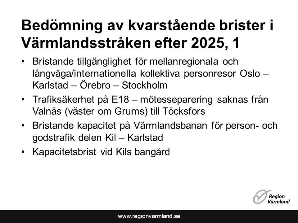 www.regionvarmland.se Bedömning av kvarstående brister i Värmlandsstråken efter 2025, 1 Bristande tillgänglighet för mellanregionala och långväga/inte