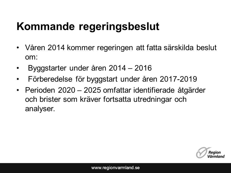 www.regionvarmland.se Kommande regeringsbeslut Våren 2014 kommer regeringen att fatta särskilda beslut om: Byggstarter under åren 2014 – 2016 Förberedelse för byggstart under åren 2017-2019 Perioden 2020 – 2025 omfattar identifierade åtgärder och brister som kräver fortsatta utredningar och analyser.