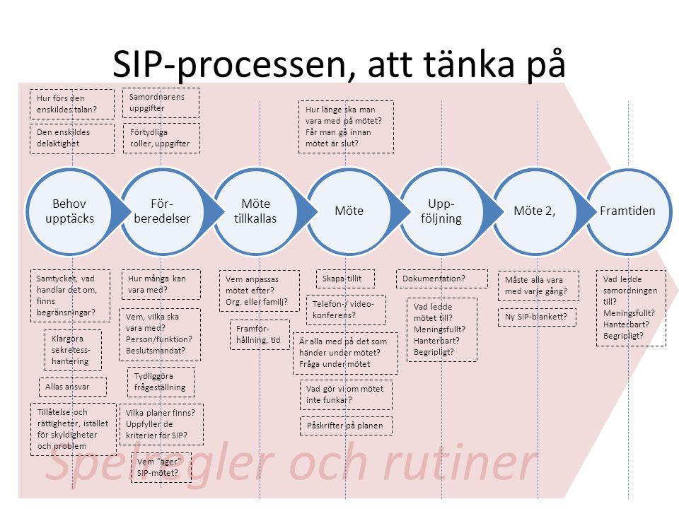 Spelregler och rutiner SIP-processen, att tänka på FramtidenMöte 2, Upp- följning Möte Möte tillkallas För-beredelser Behov upptäcks Hur många kan var