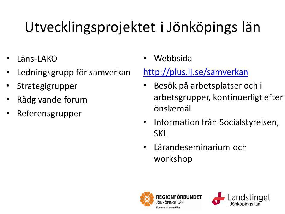 Utvecklingsprojektet i Jönköpings län Webbsida http://plus.lj.se/samverkan Besök på arbetsplatser och i arbetsgrupper, kontinuerligt efter önskemål In
