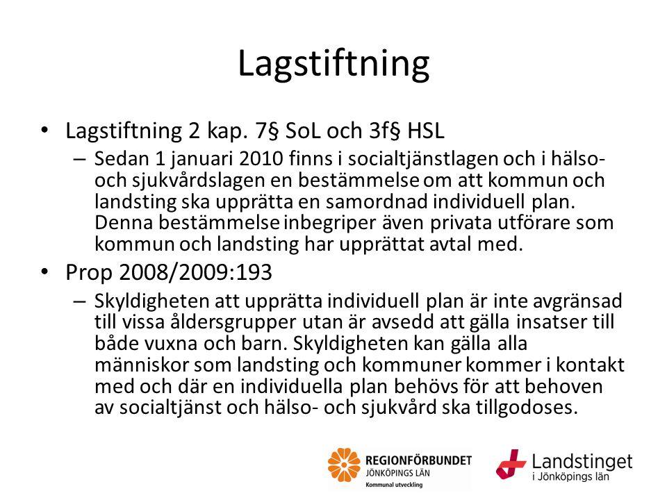 Lagstiftning Lagstiftning 2 kap. 7§ SoL och 3f§ HSL – Sedan 1 januari 2010 finns i socialtjänstlagen och i hälso- och sjukvårdslagen en bestämmelse om