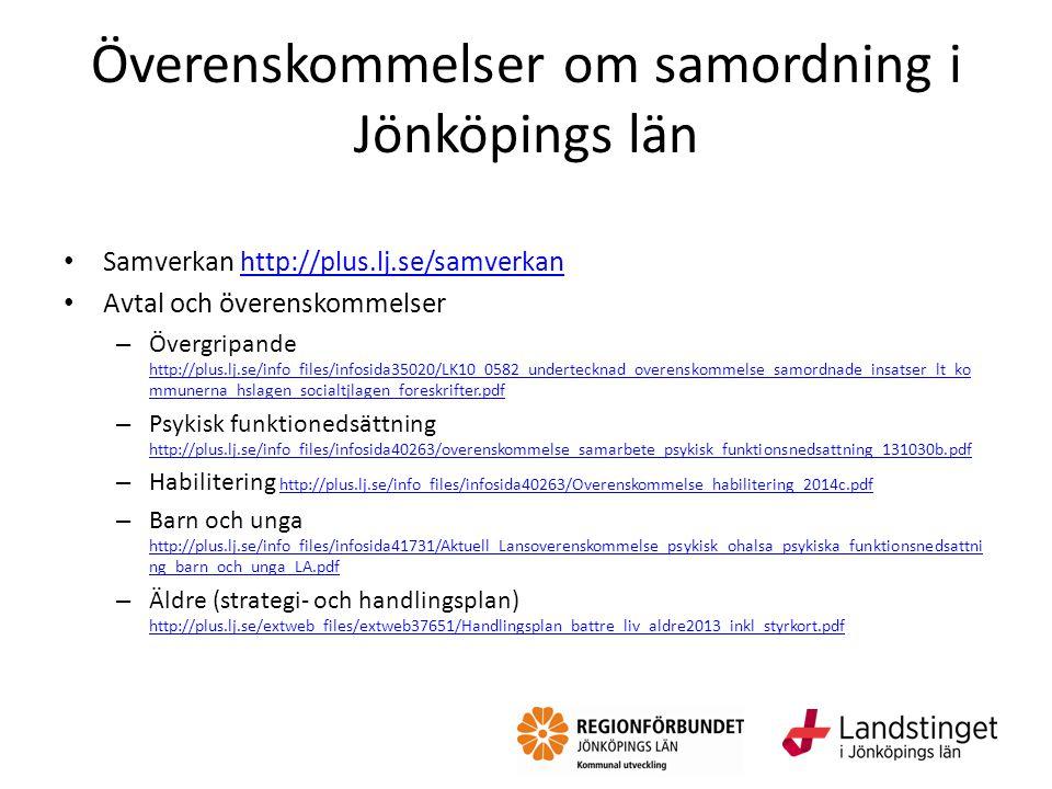 Överenskommelser om samordning i Jönköpings län Samverkan http://plus.lj.se/samverkanhttp://plus.lj.se/samverkan Avtal och överenskommelser – Övergrip