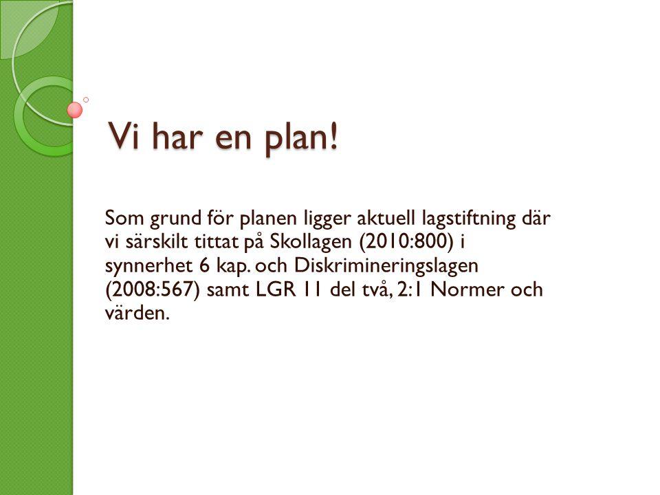 Vi har en plan! Som grund för planen ligger aktuell lagstiftning där vi särskilt tittat på Skollagen (2010:800) i synnerhet 6 kap. och Diskriminerings